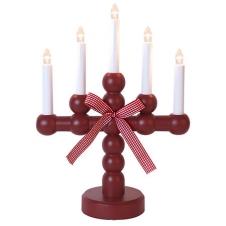Kerzenleuchter Bodil rot mit Schleife