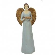 Engel mit goldenen Flügeln und Teelichthalter, hellgrün