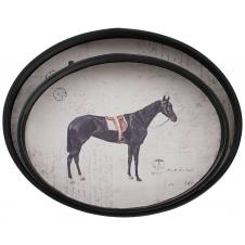 Holztablett mit Pferdemotiv 2er Set