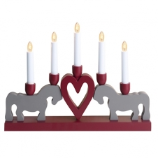 Kerzenhalter Pferde und Herz, rot/grau