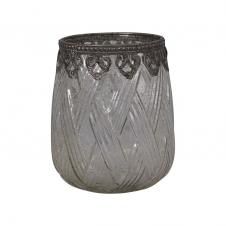 Teelichtglas mit Silber-Dekor