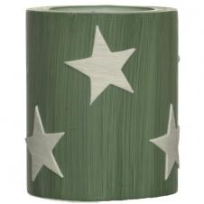 Lampion grün gestrichen Sterne altweiß
