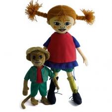 Puppe Pippi Langstrumpf und Herr Nilsson