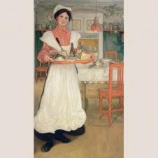 "Poster ""Martina mit dem Frühstückstablett"""