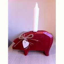 Holzschwein Kerzenhalter rot
