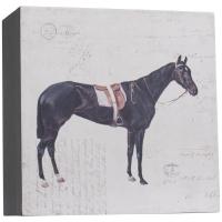 Holzkiste mit Pferdemotiv